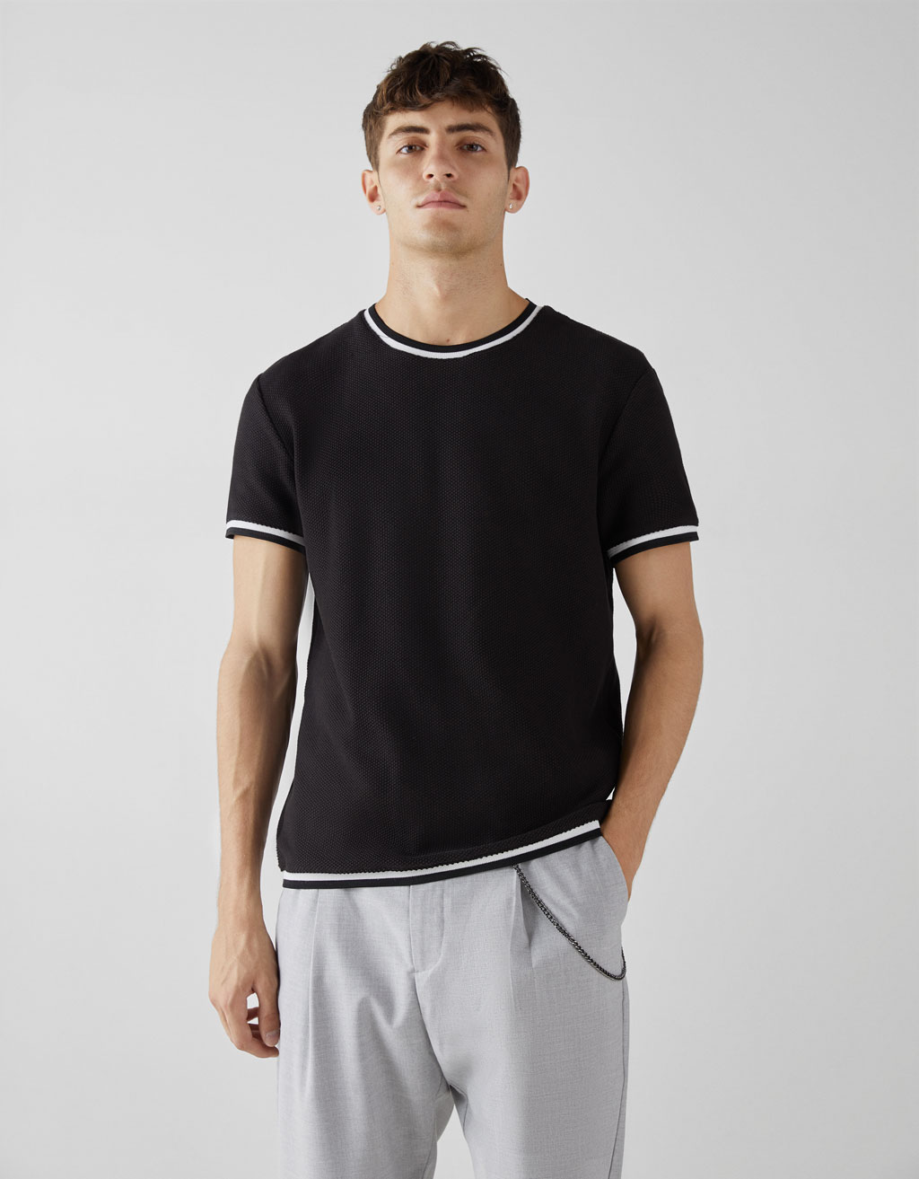 Contrasting textured T-shirt