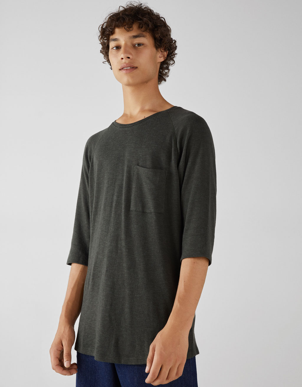3/4 sleeve flecked T-shirt