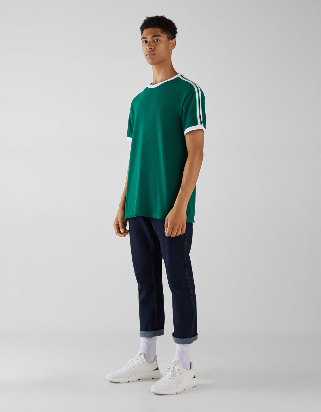 T-shirt with side stripes
