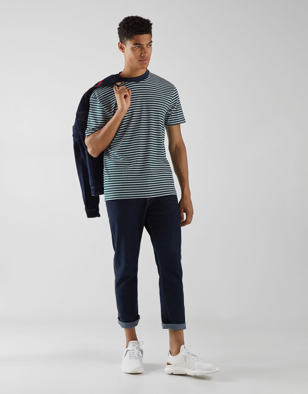 Ribbed T-shirt with a striped print