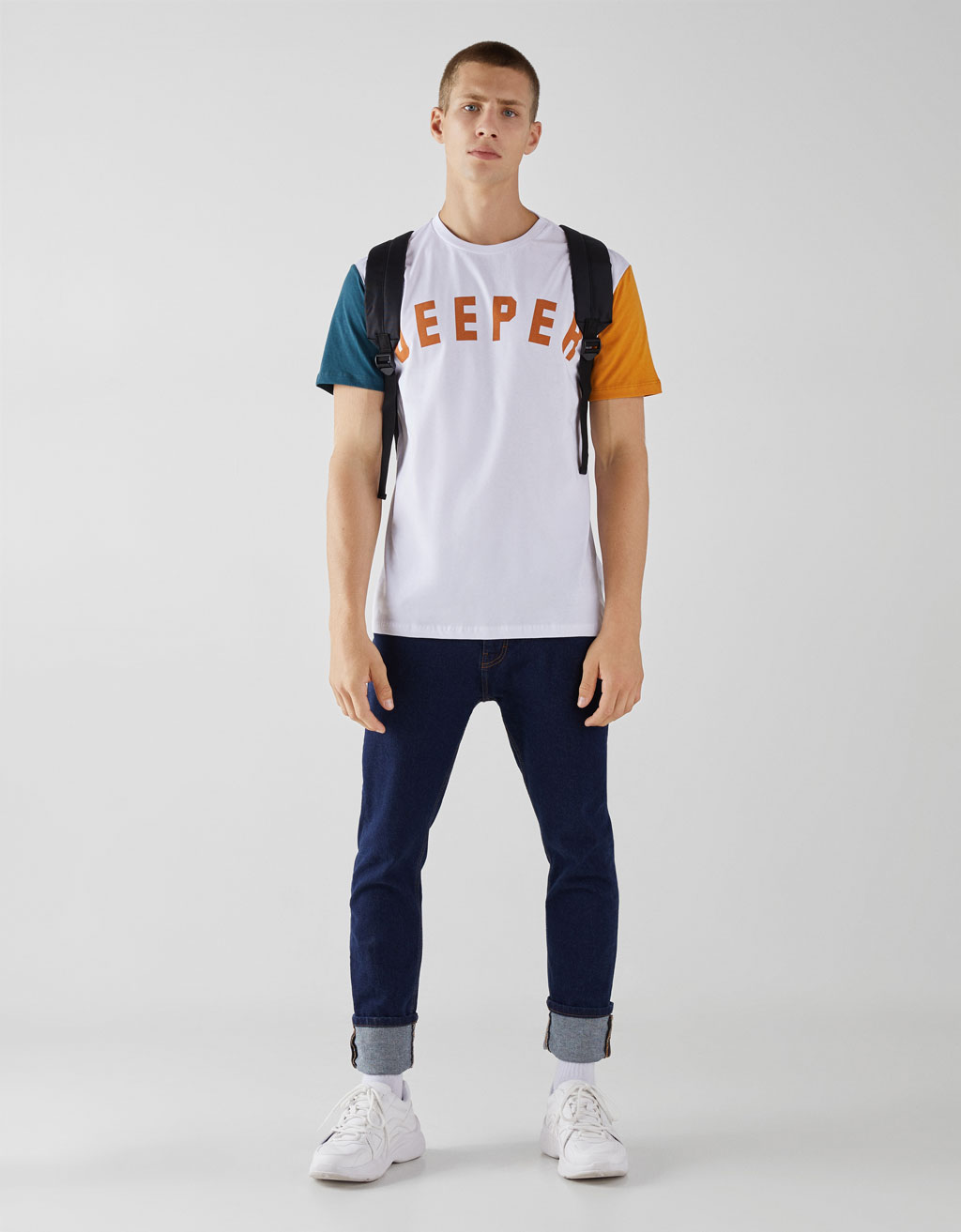 T-shirt with contrasting sleeves