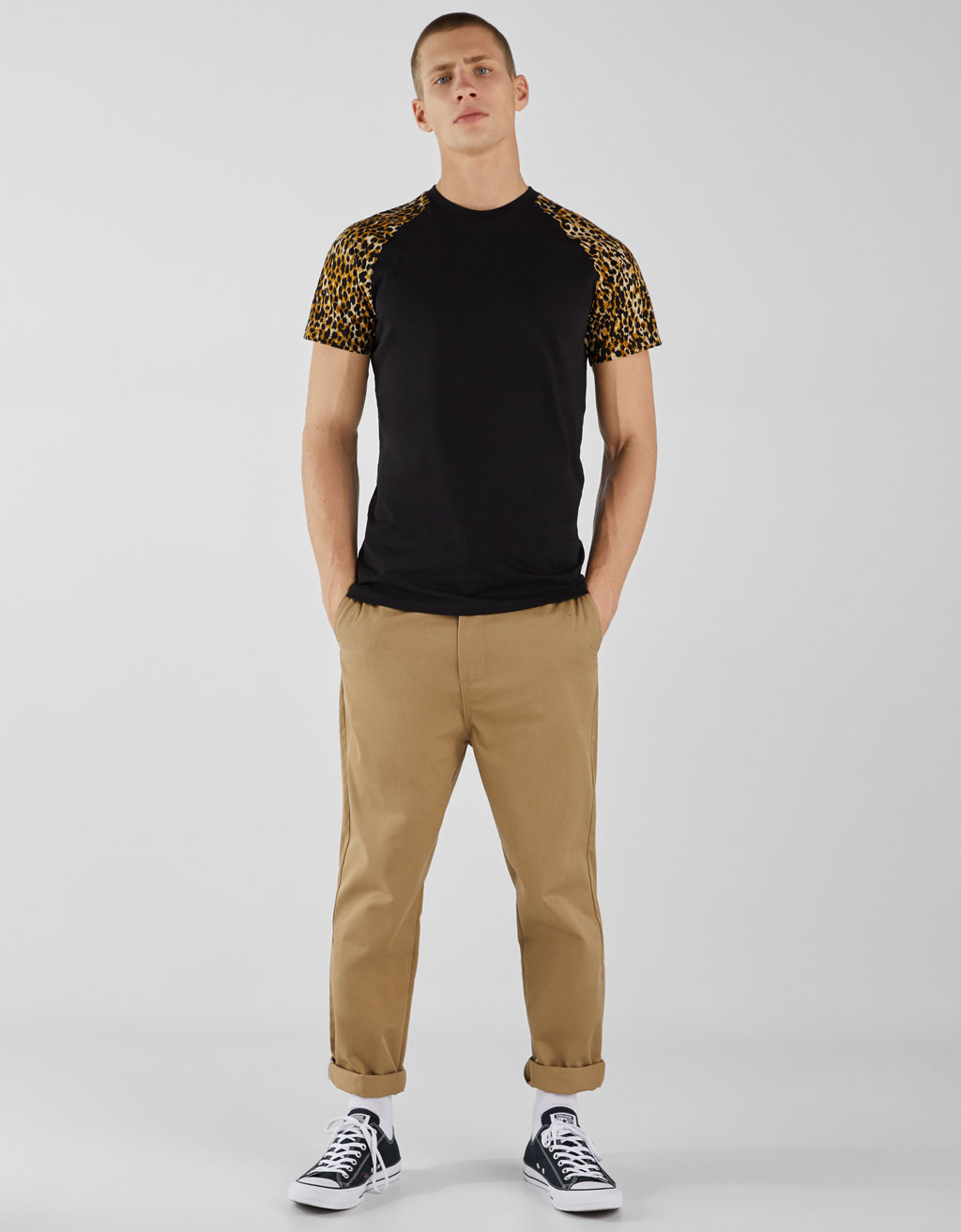 Raglan sleeve T-shirt with leopard print