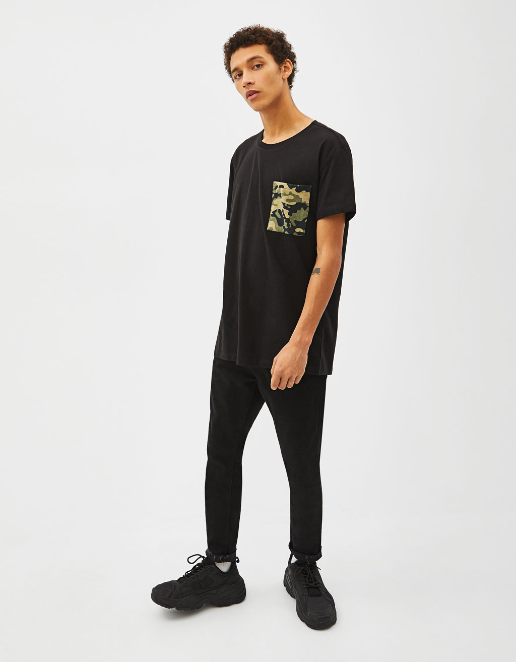 Camouflage panel T-shirt with pocket