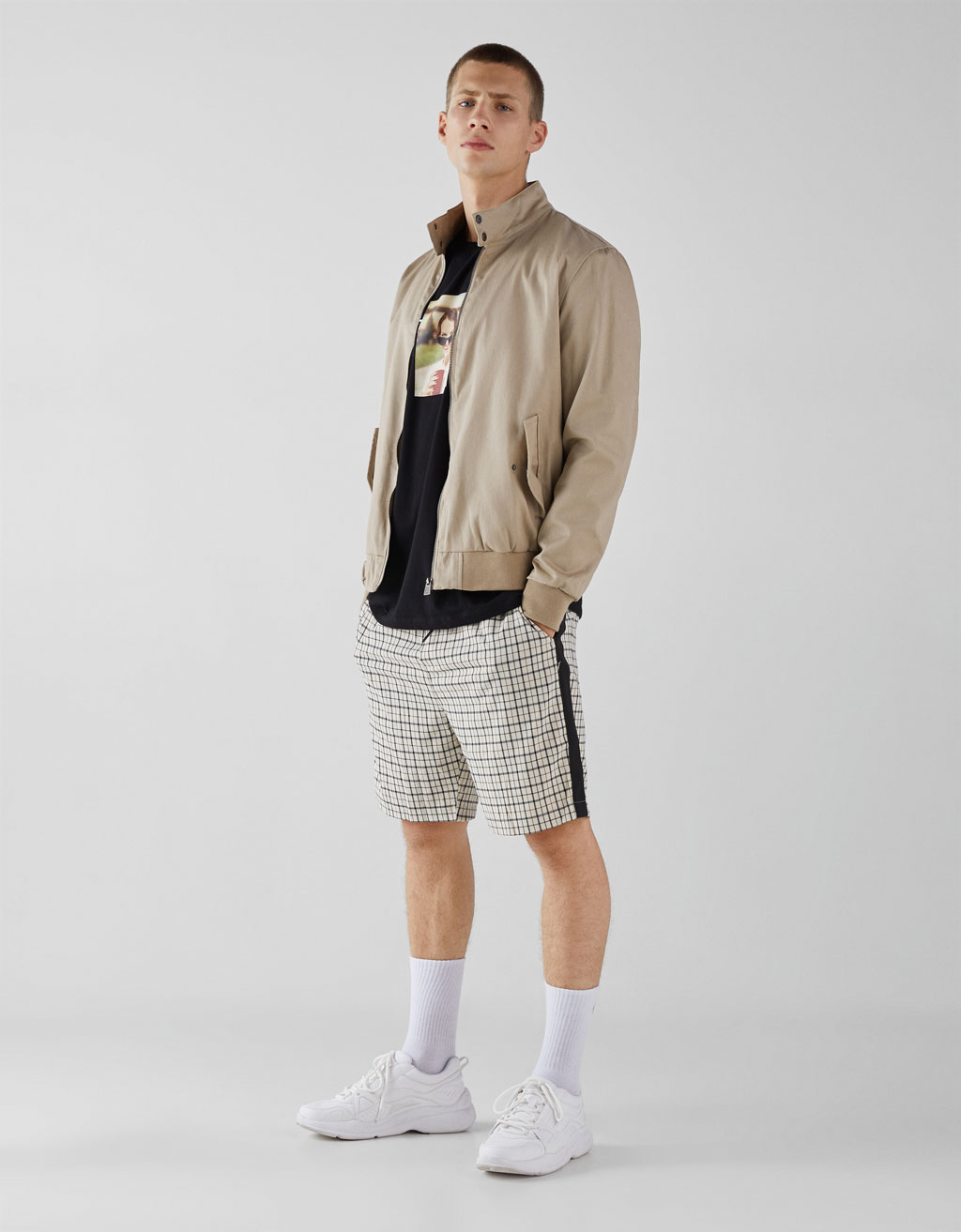 Checked Bermuda shorts with side stripes