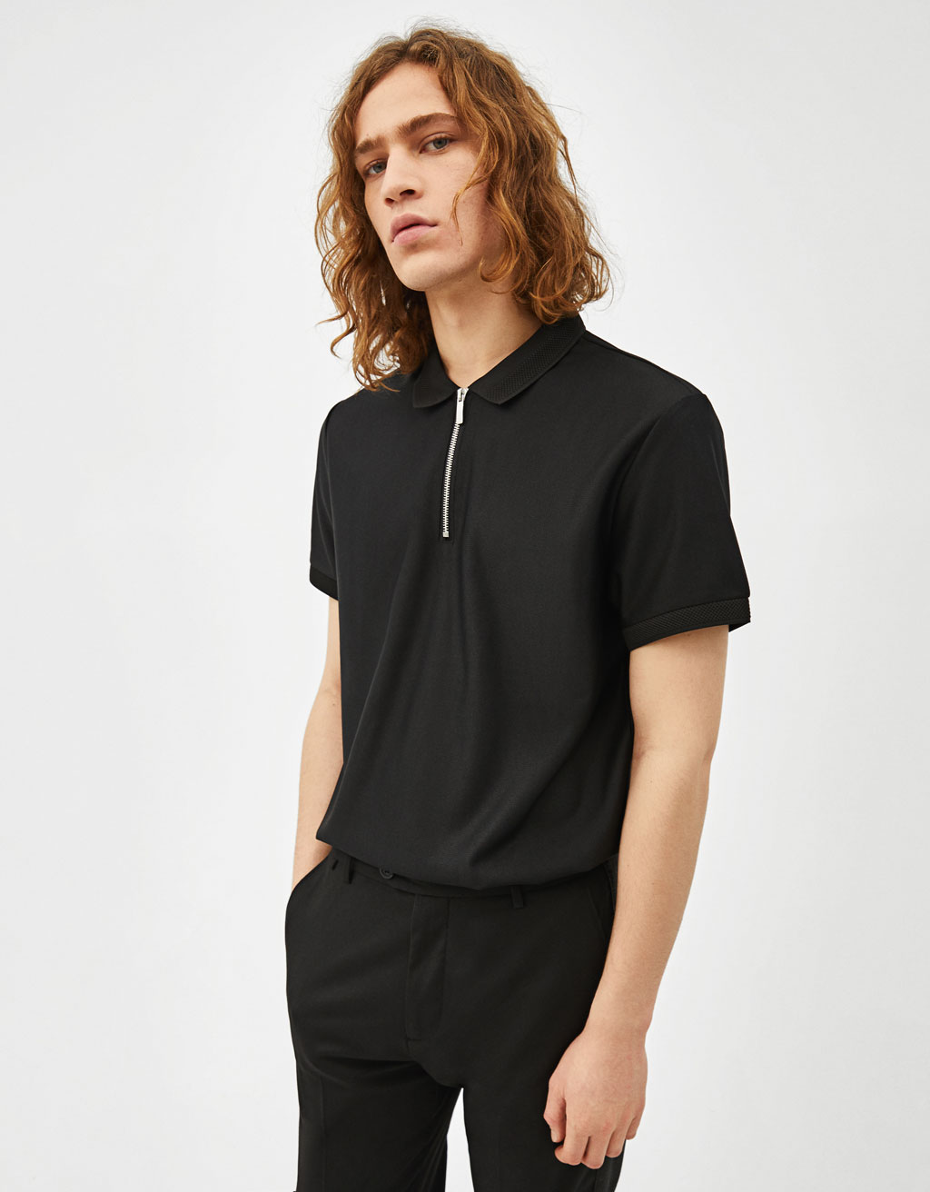 Knit polo shirt with zip