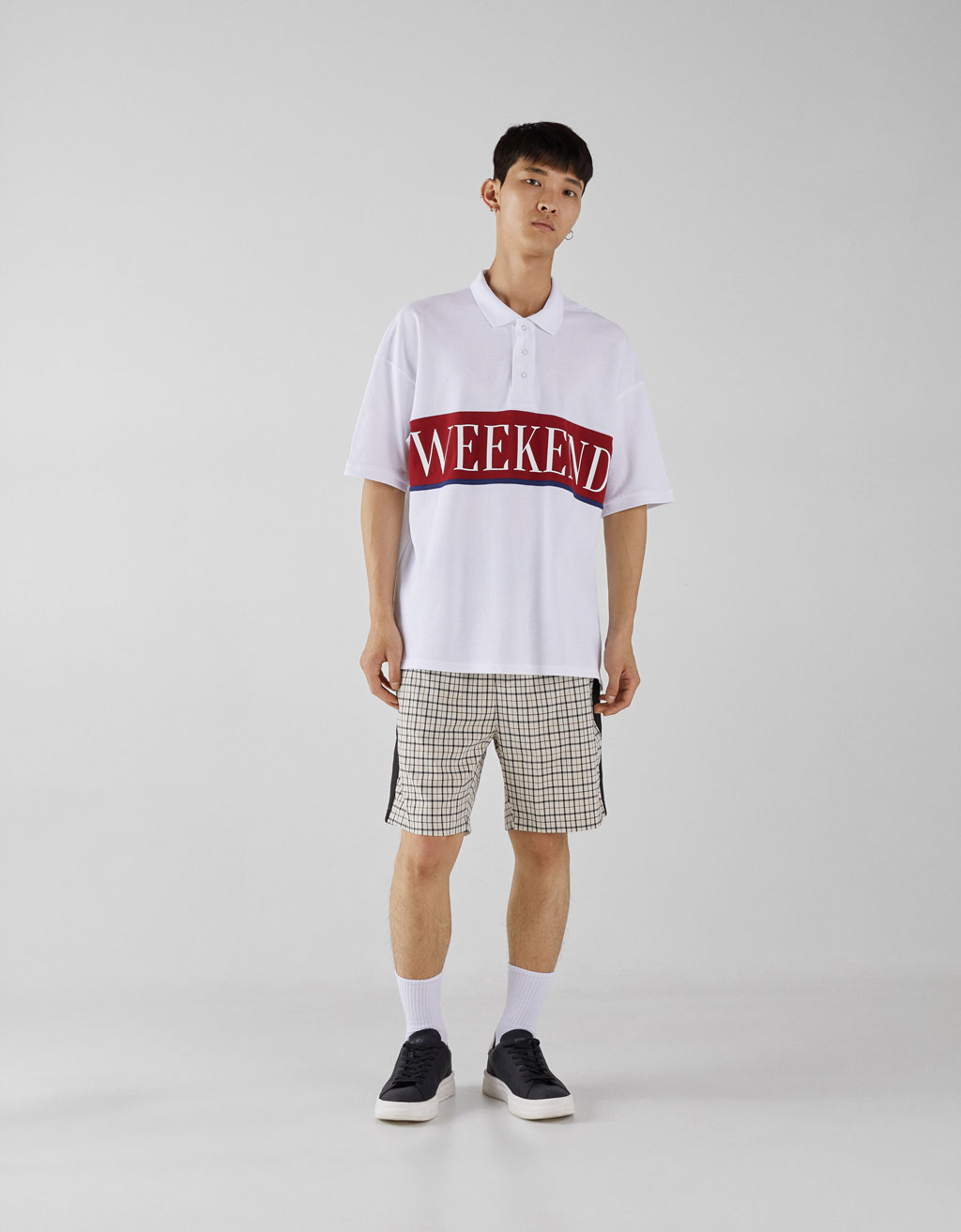 Oversized polo T-shirt with print