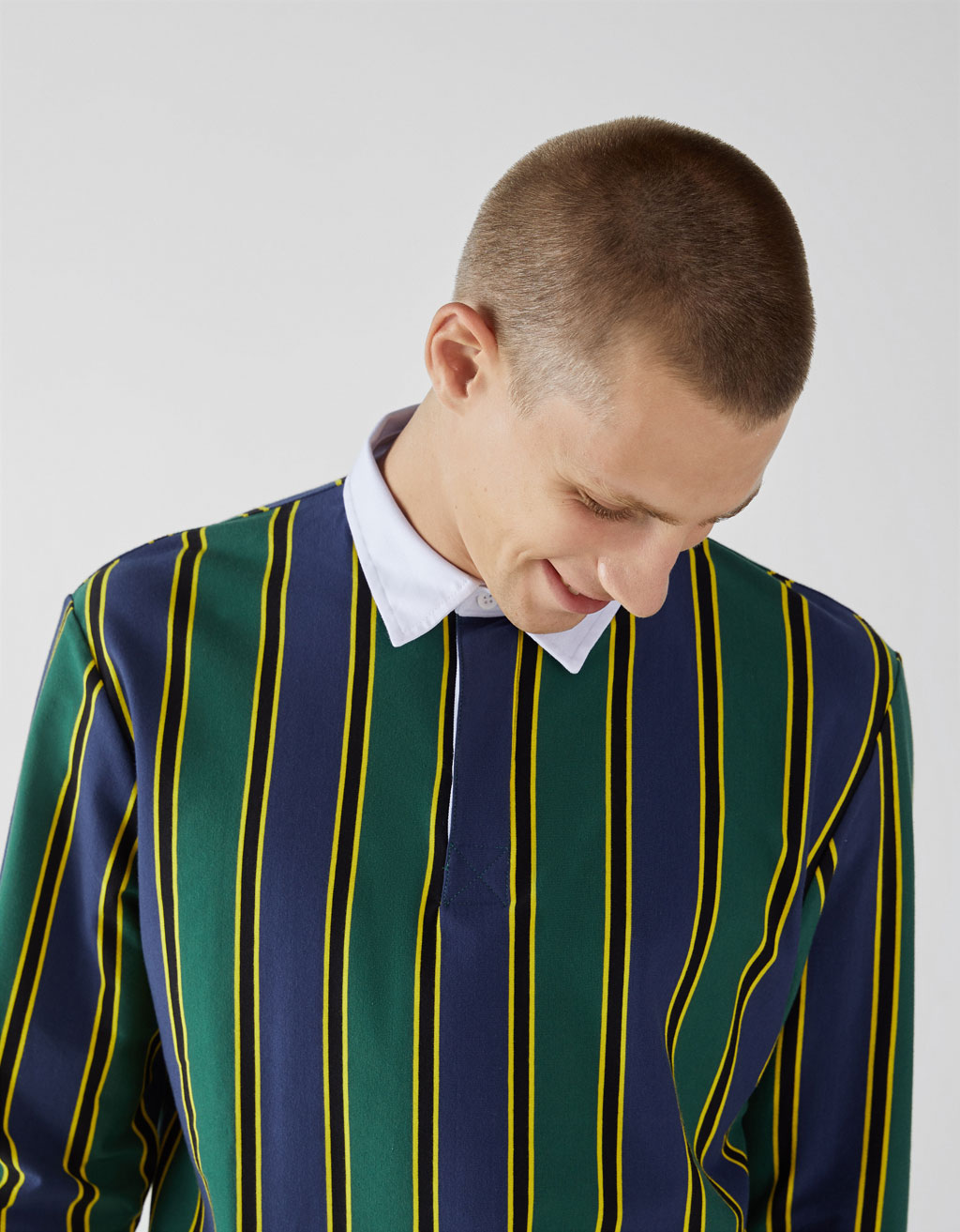 Long-sleeved striped polo