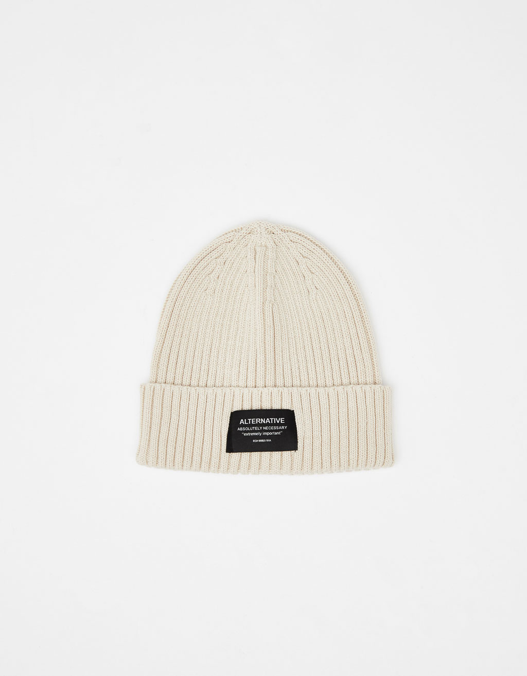 Knit beanie with patch