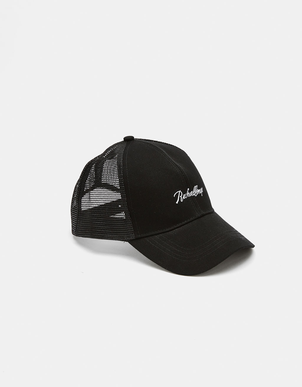 Mesh cap with embroidery