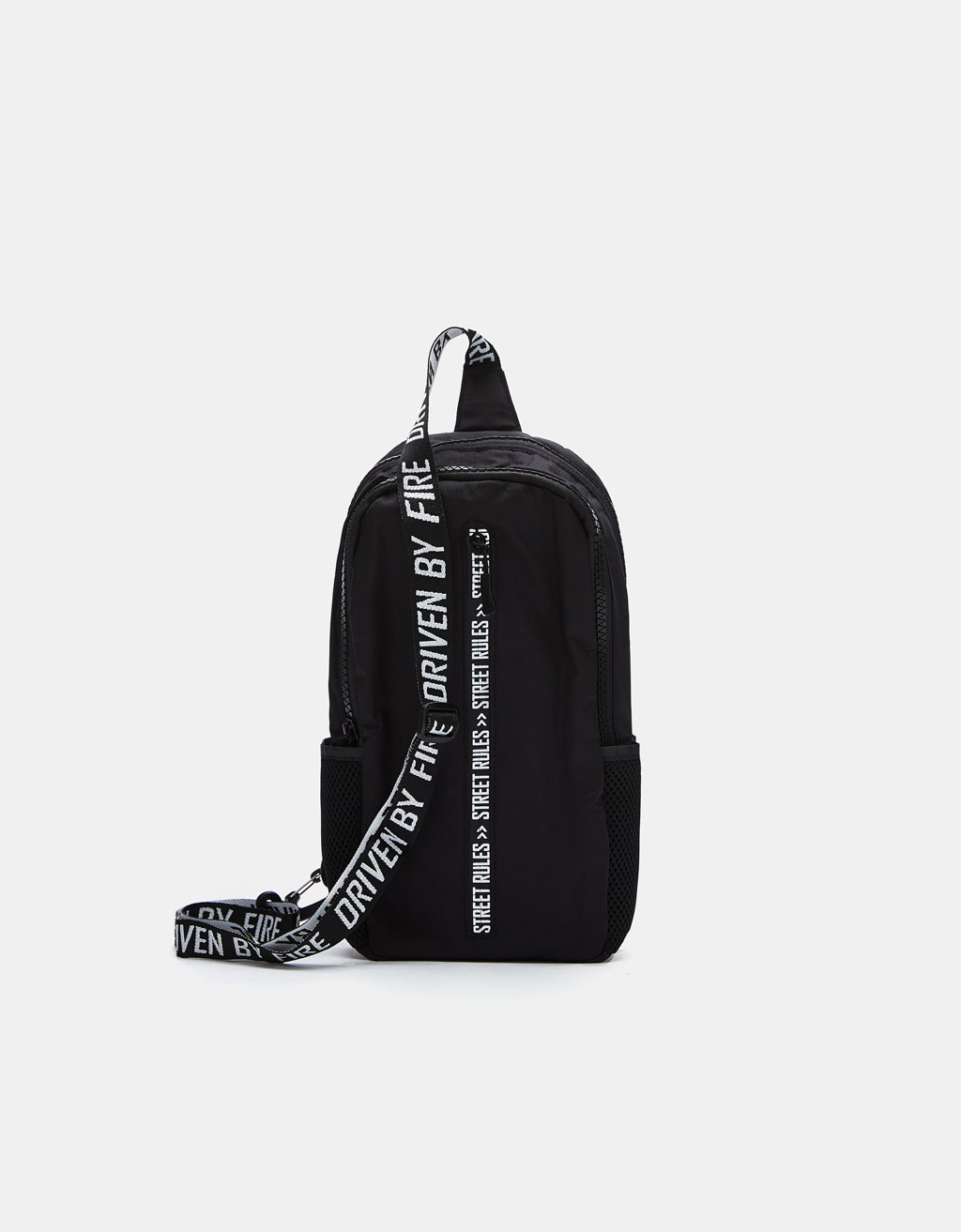 Crossbody backpack with slogan