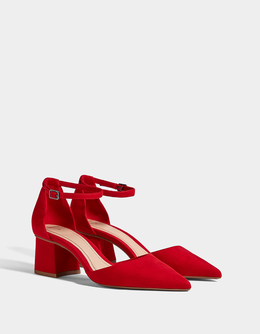 Red mid-heel shoes