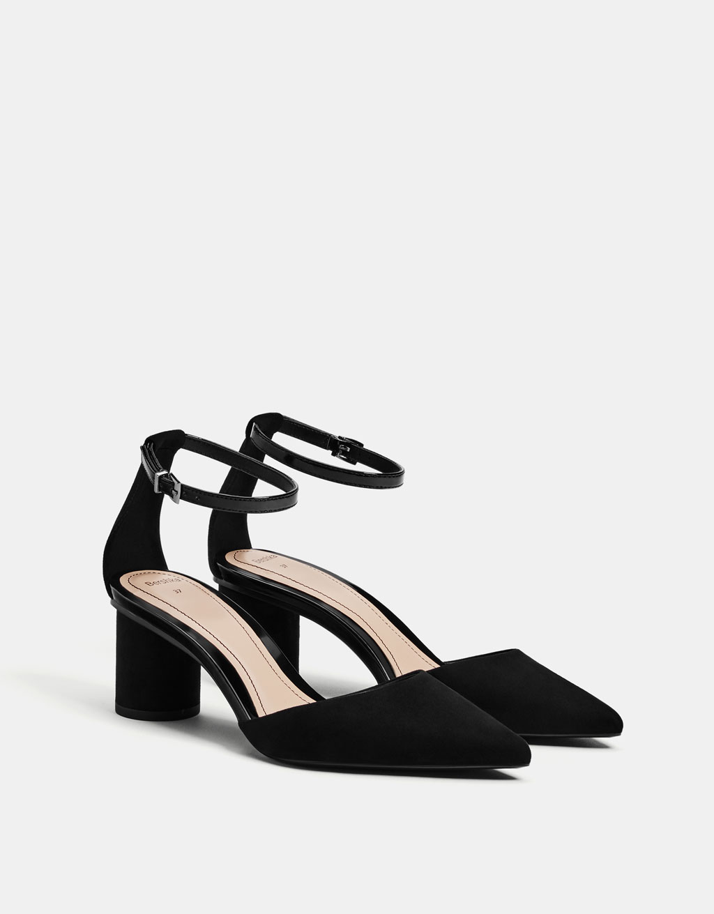 Black mid-heel d'Orsay shoes