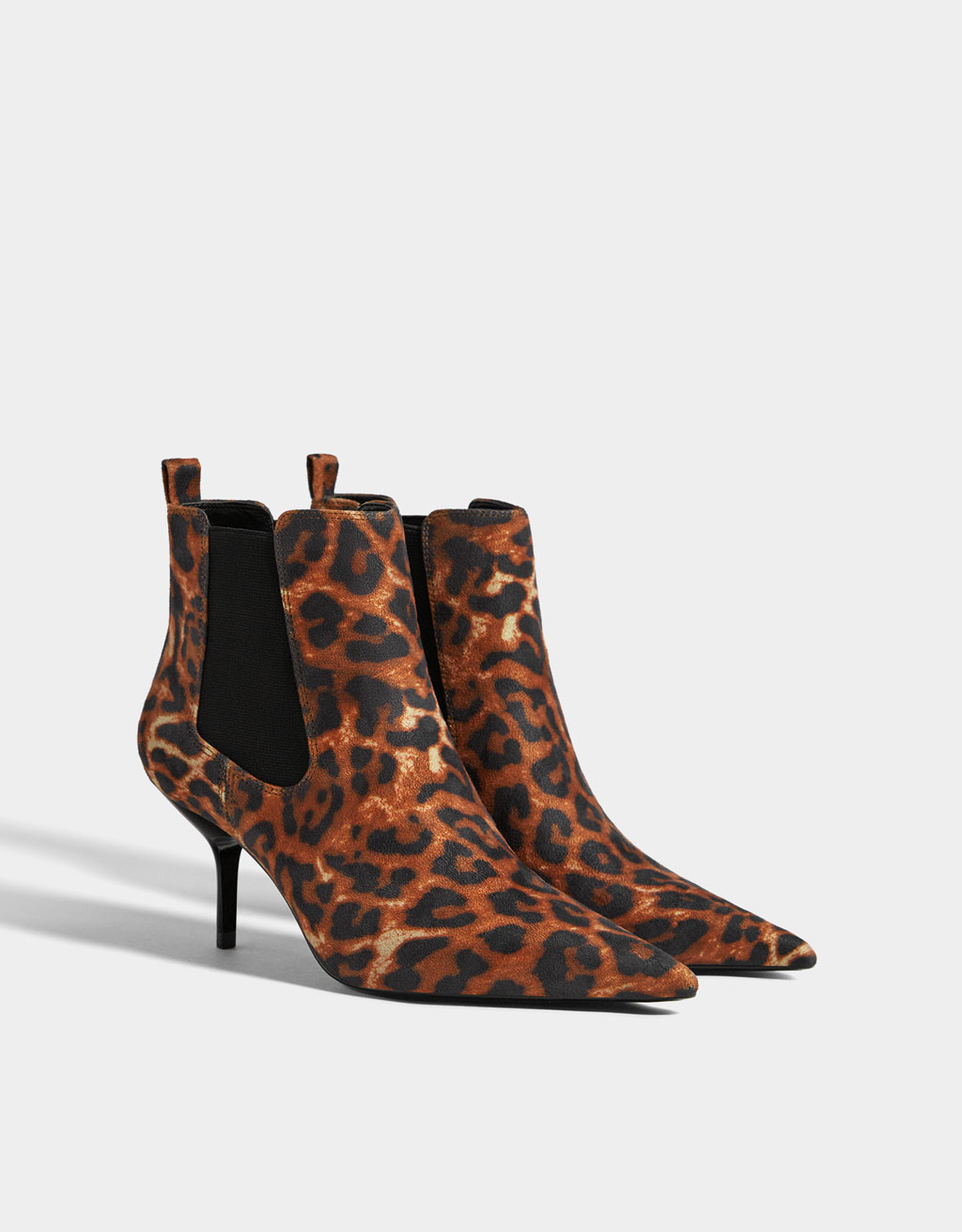 Animal print ankle boots with stiletto heels