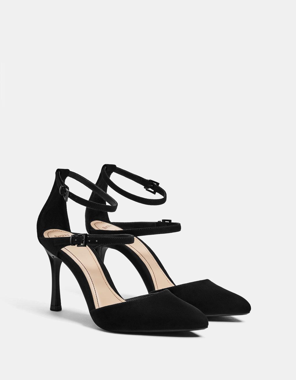 Strappy stiletto heel shoes