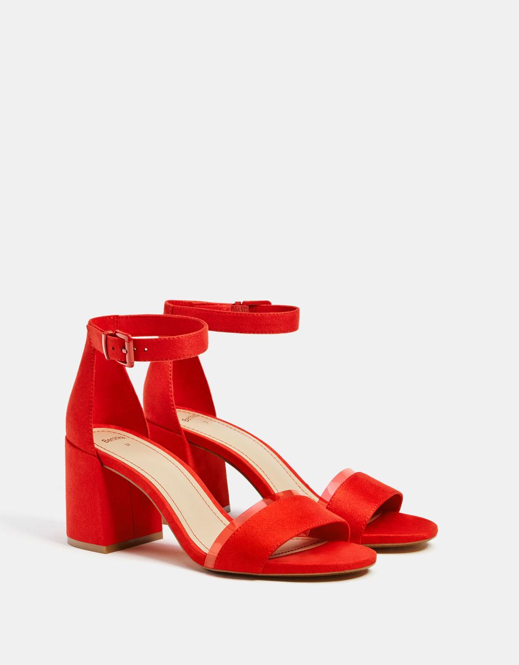 Vinyl heeled sandal