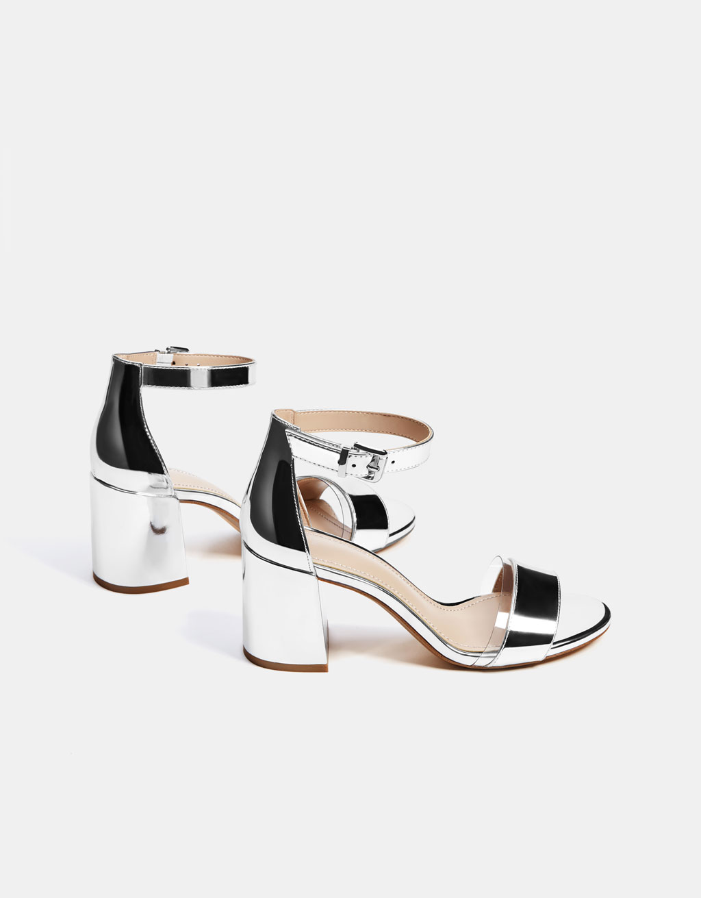 a0d5ab4a189 Metallic vinyl high-heel sandals - SHOES - Bershka Ireland