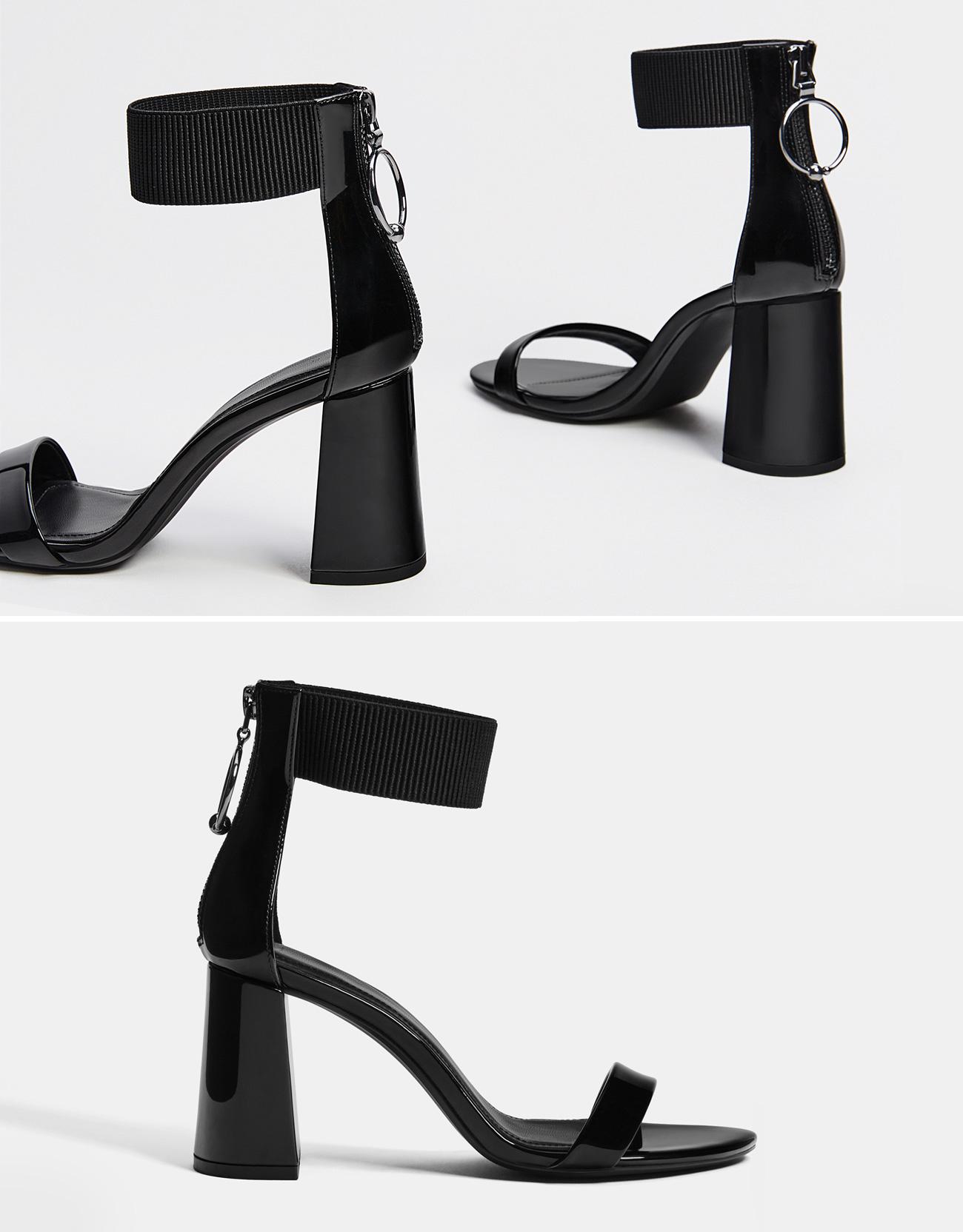 Sandale mit Absatz in Lackoptik und seitlichem Gummizug