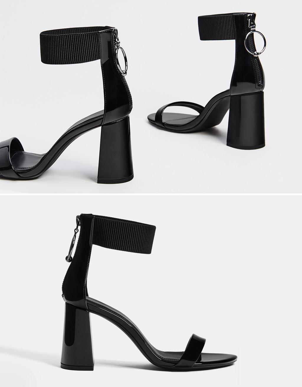 Elastīgas lakādas sandales ar papēdi