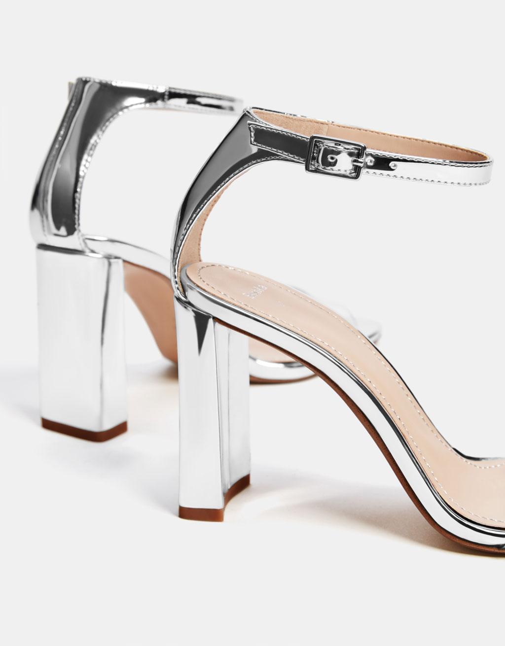 6bc8187471e Metallic high-heel sandals with vinyl strap - Shoes - Bershka Ireland