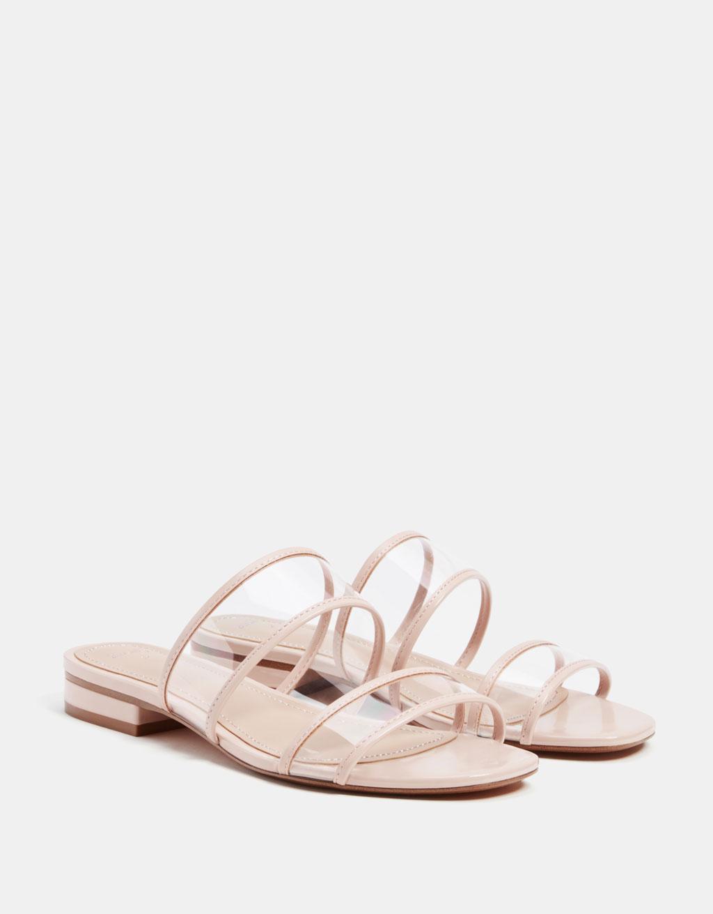 Flat vinyl sandals