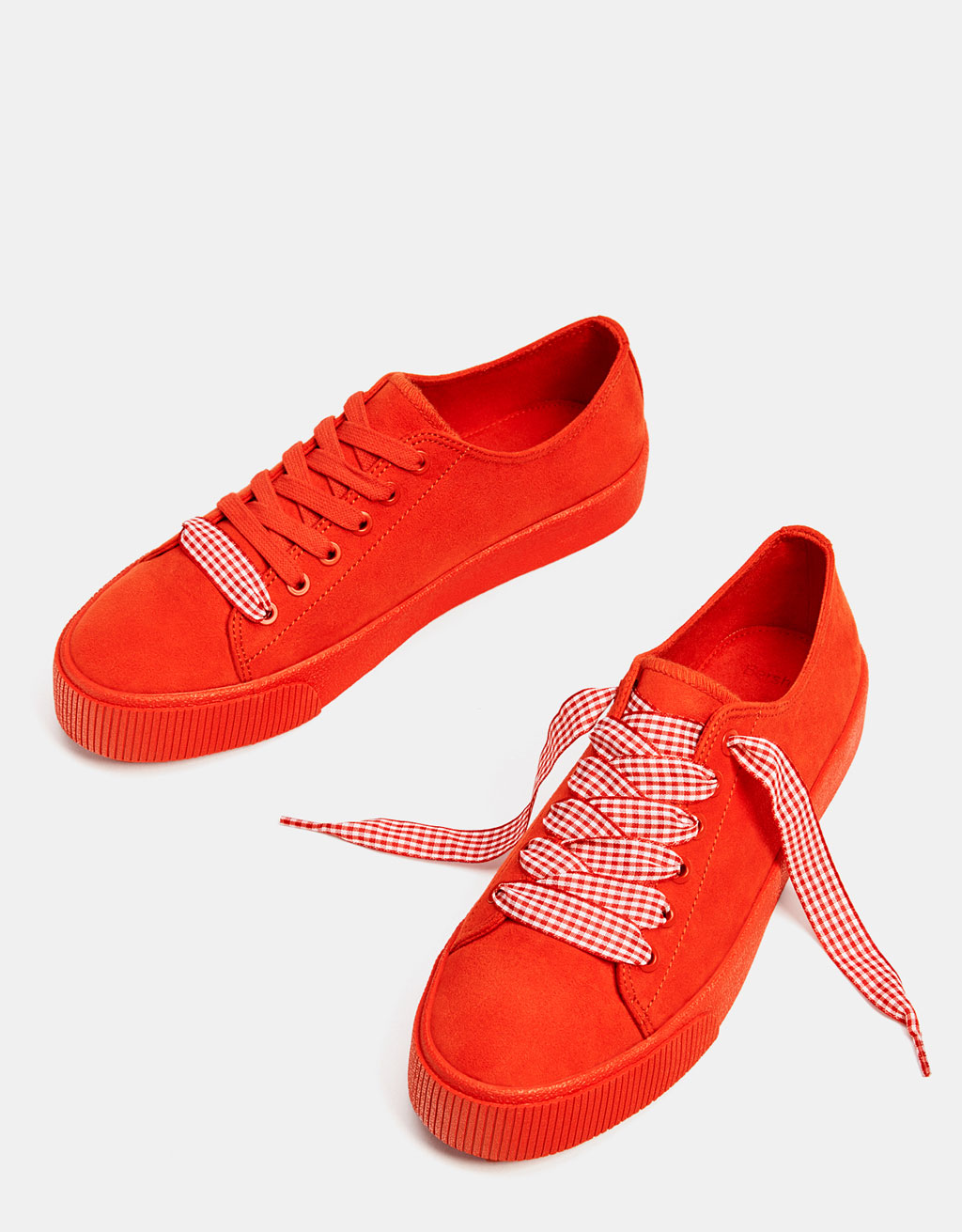 Red monochrome sneakers