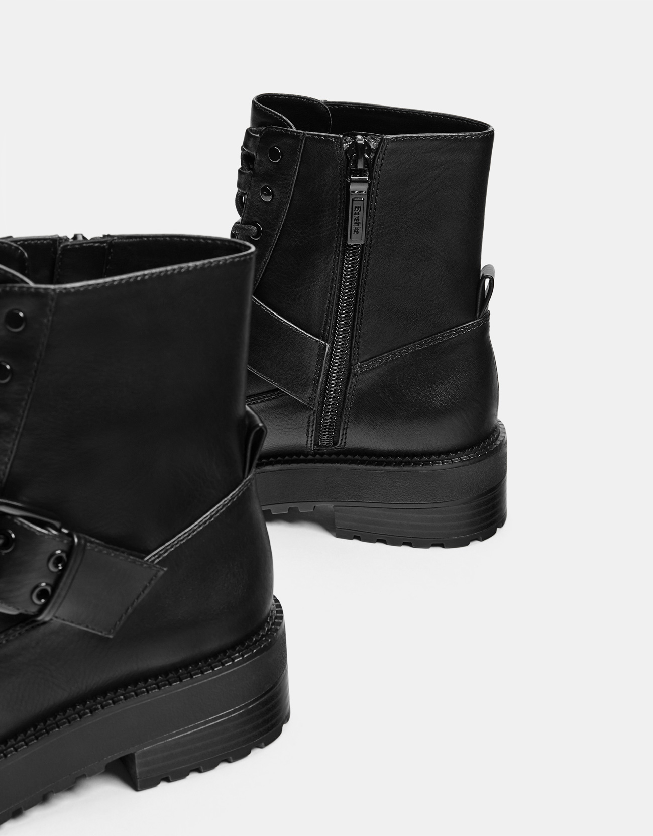 3363ca69fa67e Flat ankle boots with buckled strap - Boots   Ankle boots - Bershka ...
