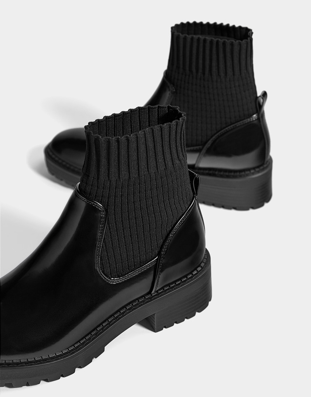 Flat sock-style ankle boots - Woman