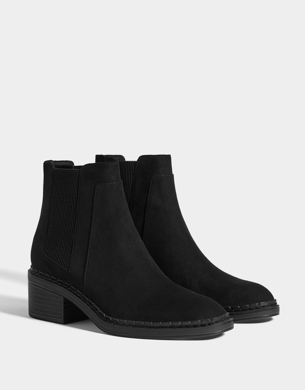 Low-heel ankle boots with elastic panels