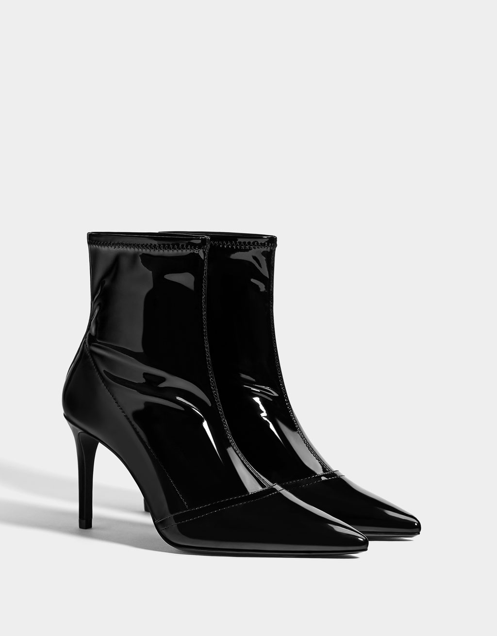Faux patent leather stiletto heel boots