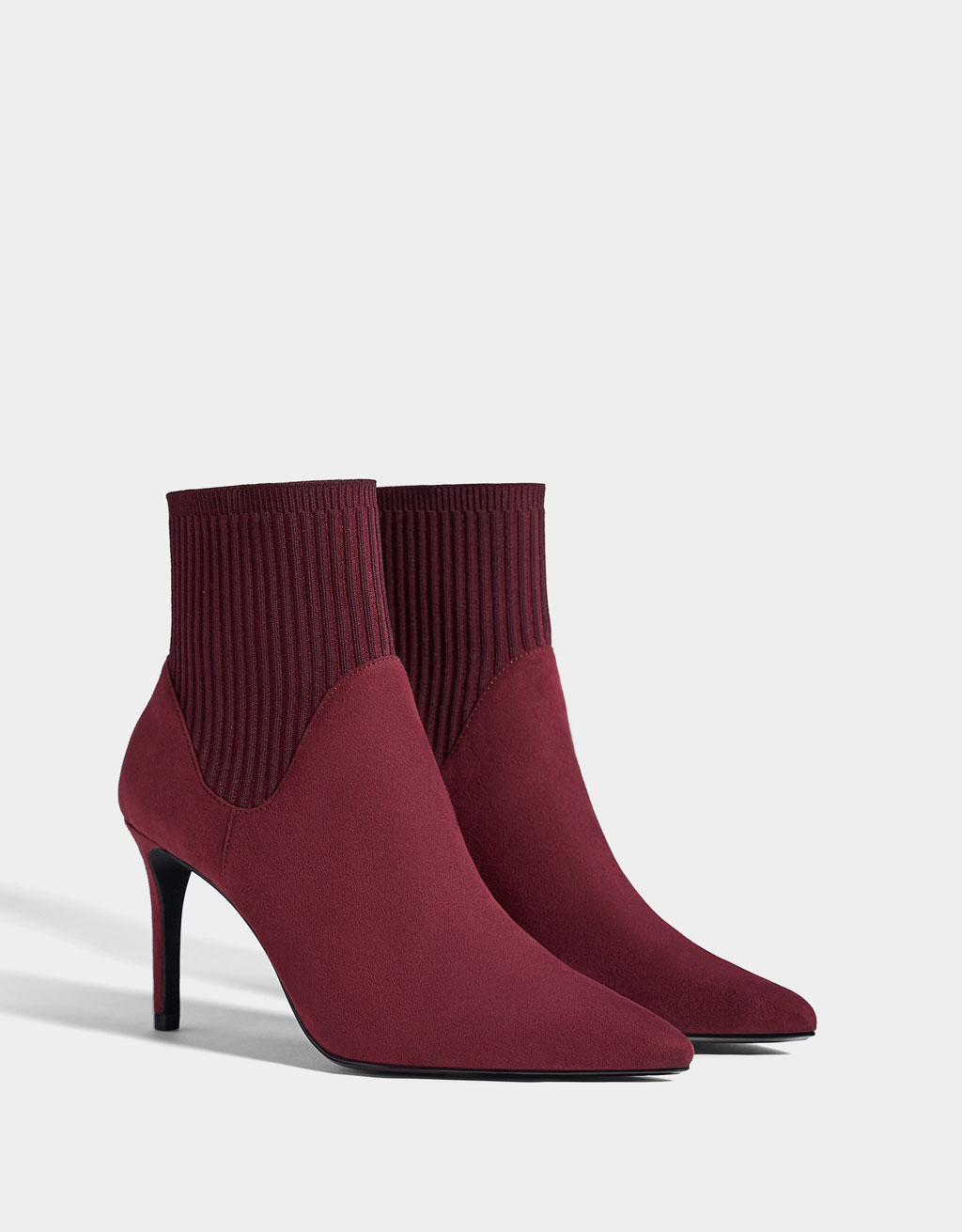 Sock-style ankle boots with stiletto heels