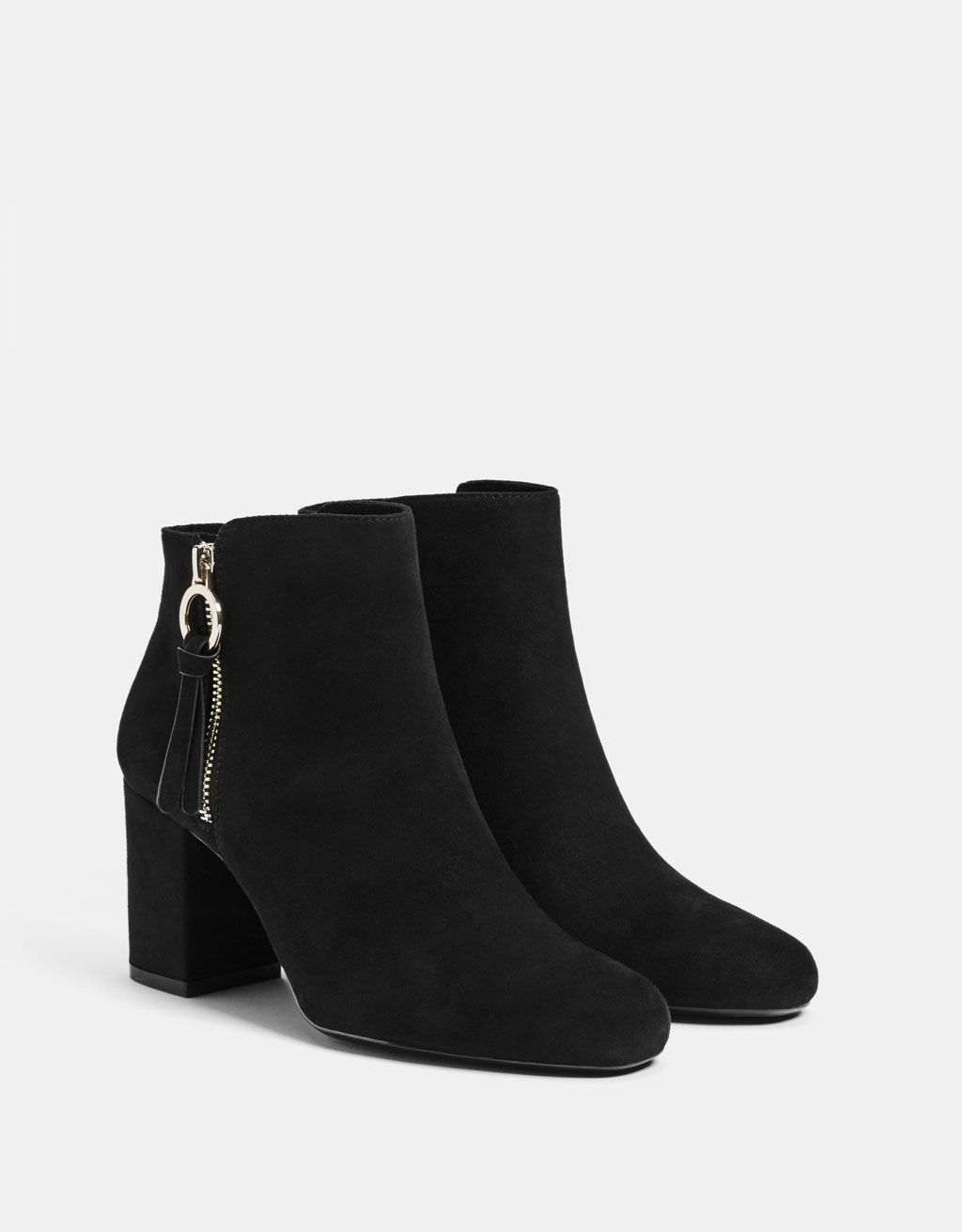 Zippered booties with heel