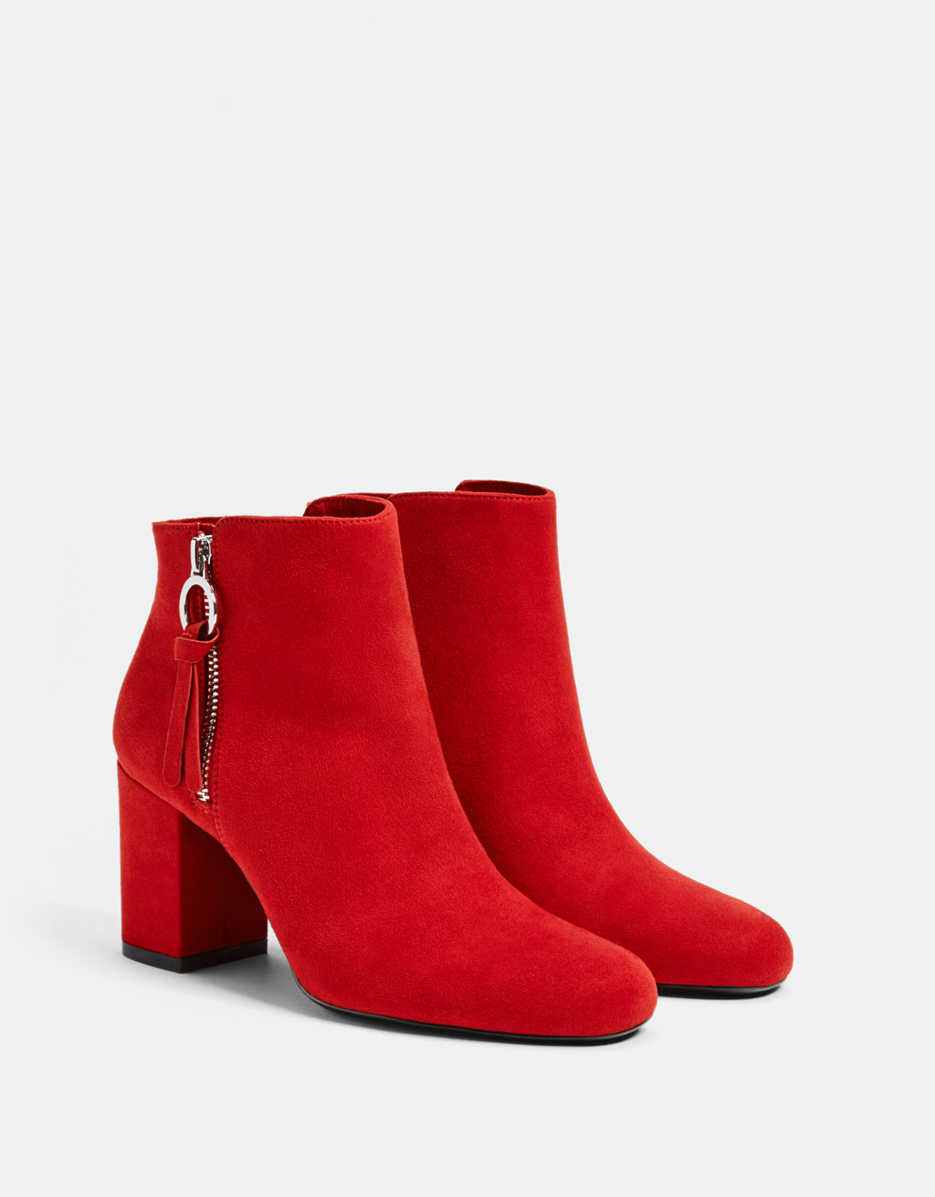Zip-up high-heel ankle boots