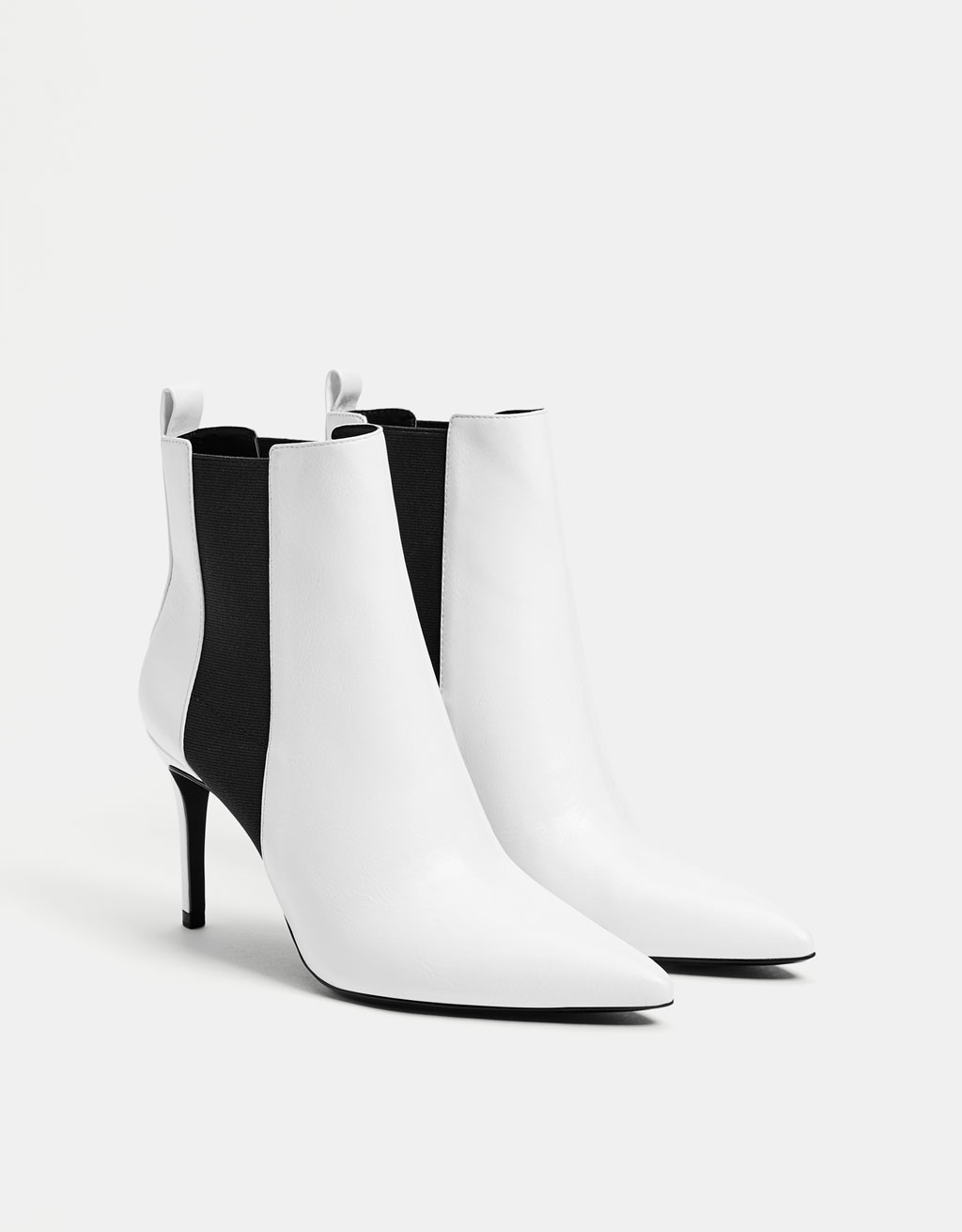 Stretch high-heel ankle boots