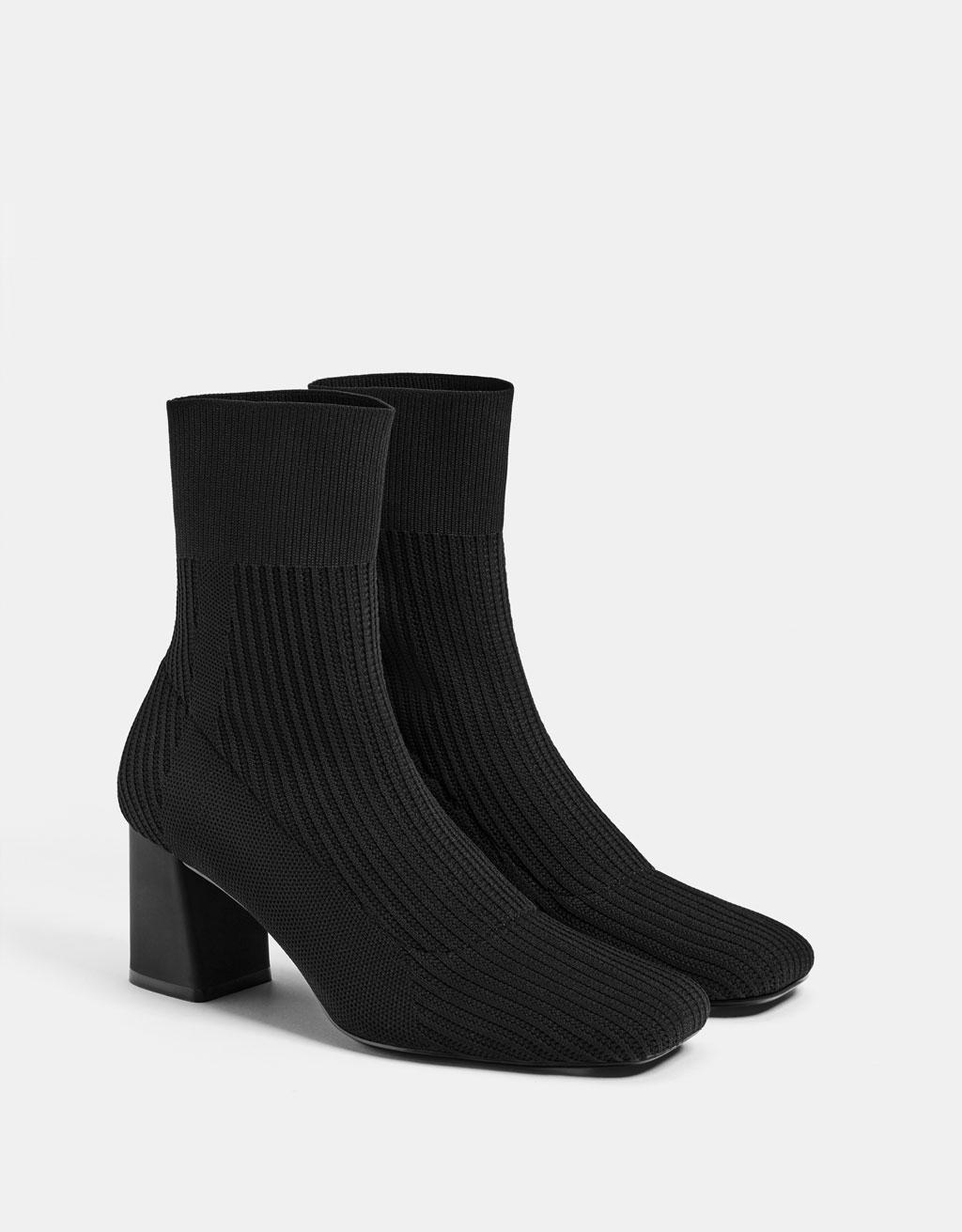 7c0c47ef9dba Mid-heel sock-style ankle boots - Shirts - Bershka Tunisia