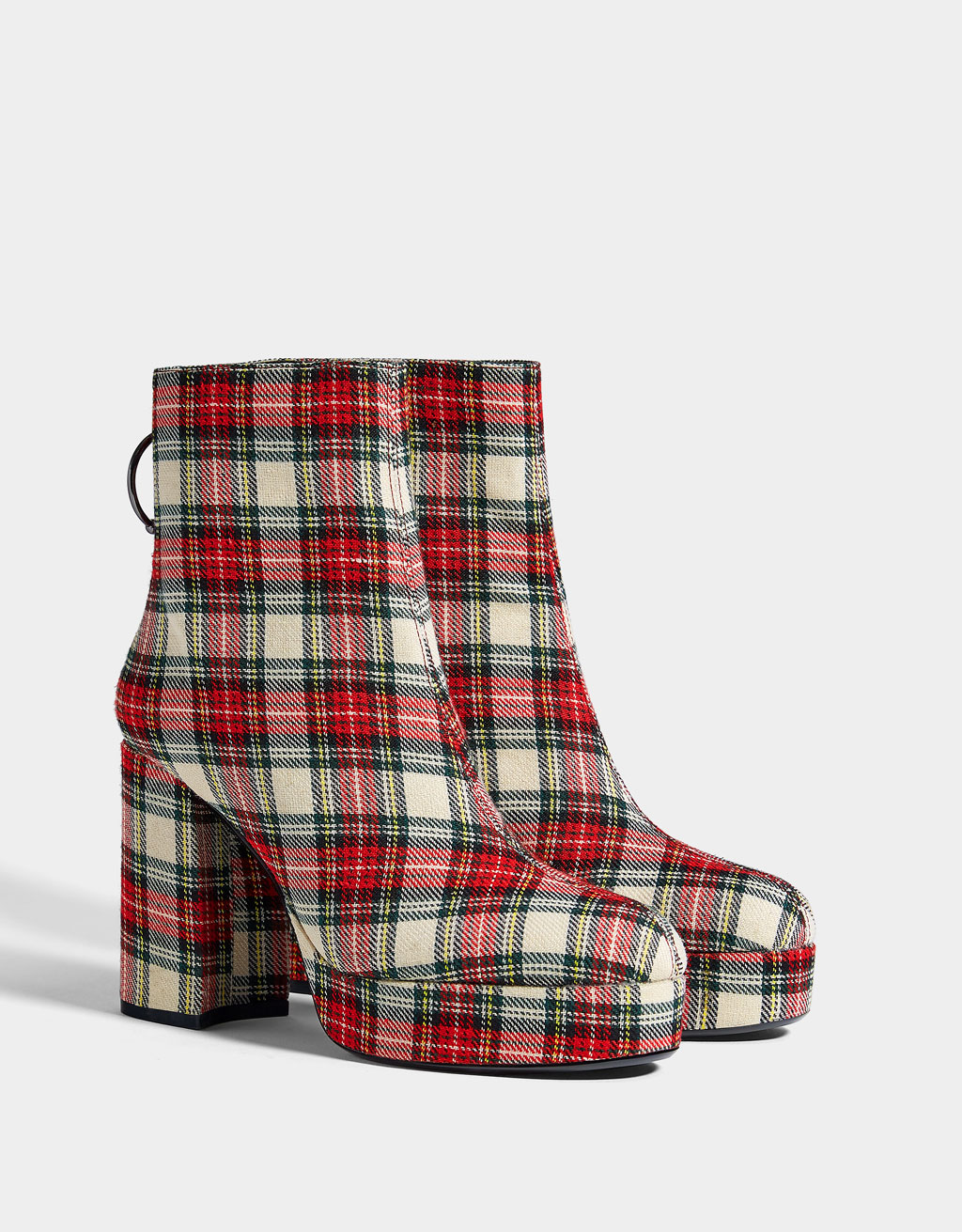 Plaid platform ankle boots