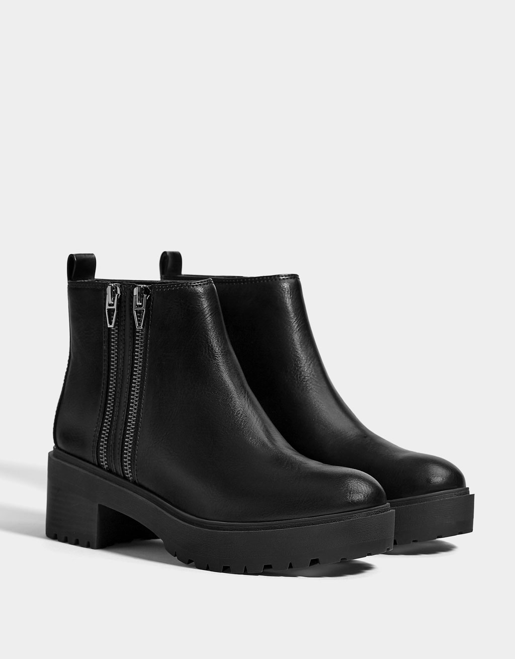 Platform ankle boots with a zip detail