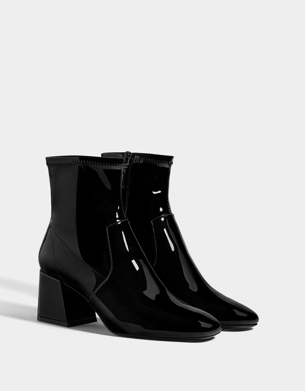 Mid-heel patent finish ankle boots