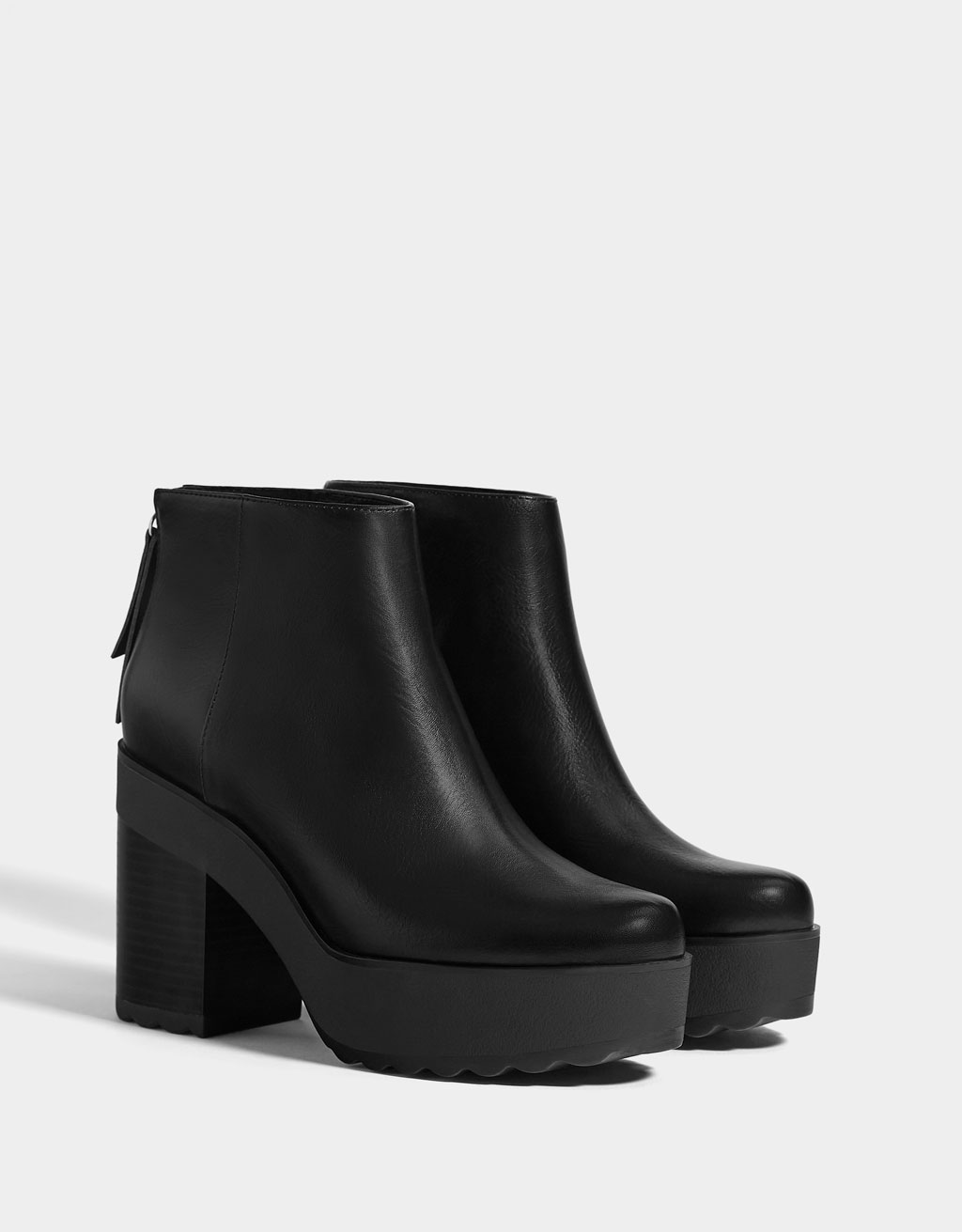 Platform ankle boots with zippers