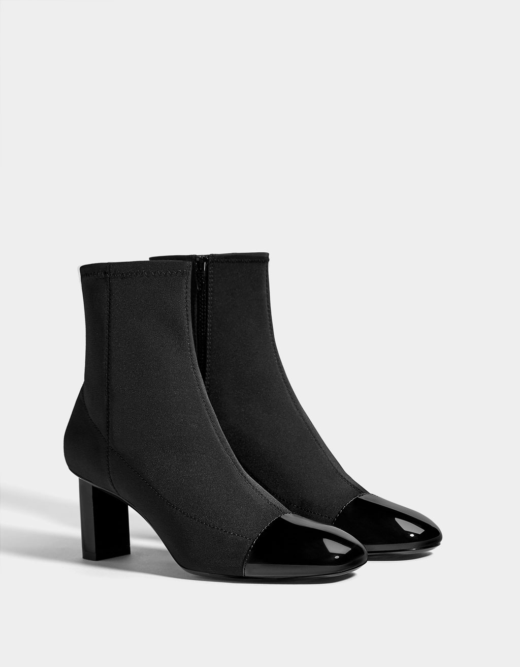 Mid-heel patent finish toe cap ankle boots