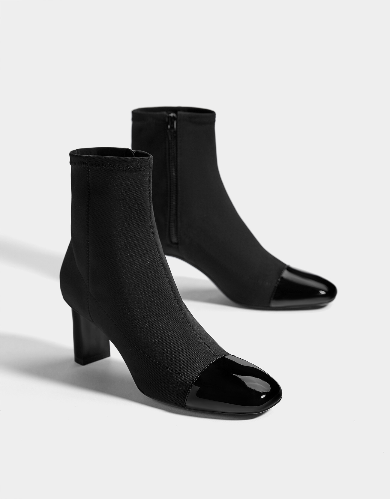 2cd4ee39899d1 Mid-heel patent finish toe cap ankle boots - Boots & Ankle boots ...