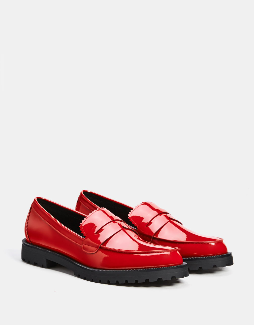 Red faux patent leather penny loafers
