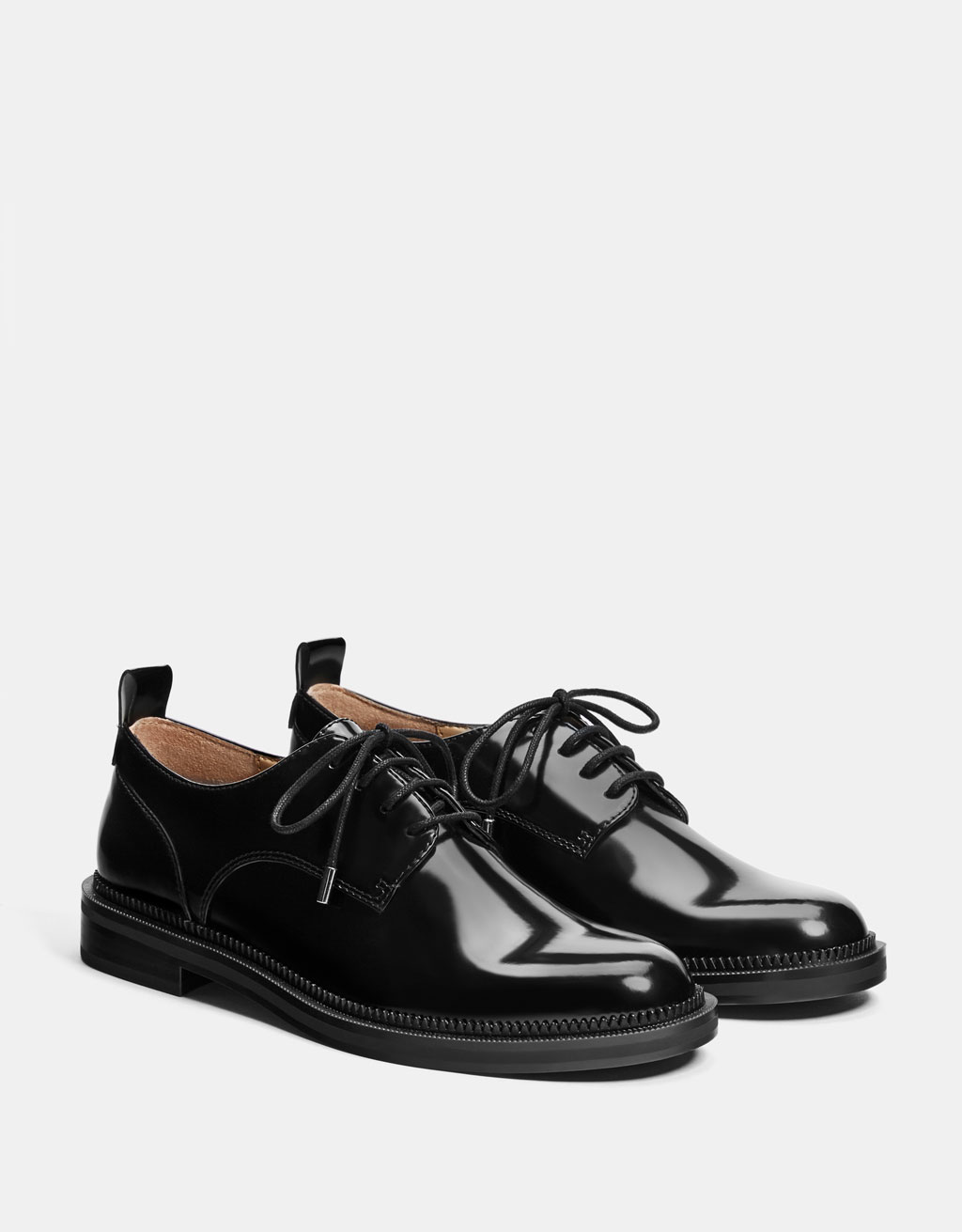 Black derby dress shoes