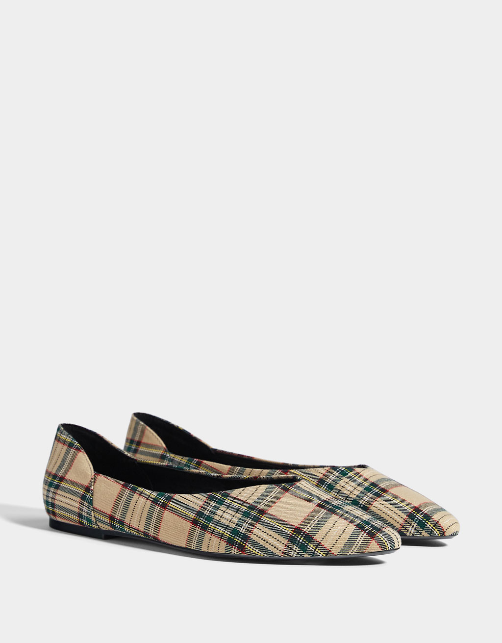 Plaid fabric ballerinas
