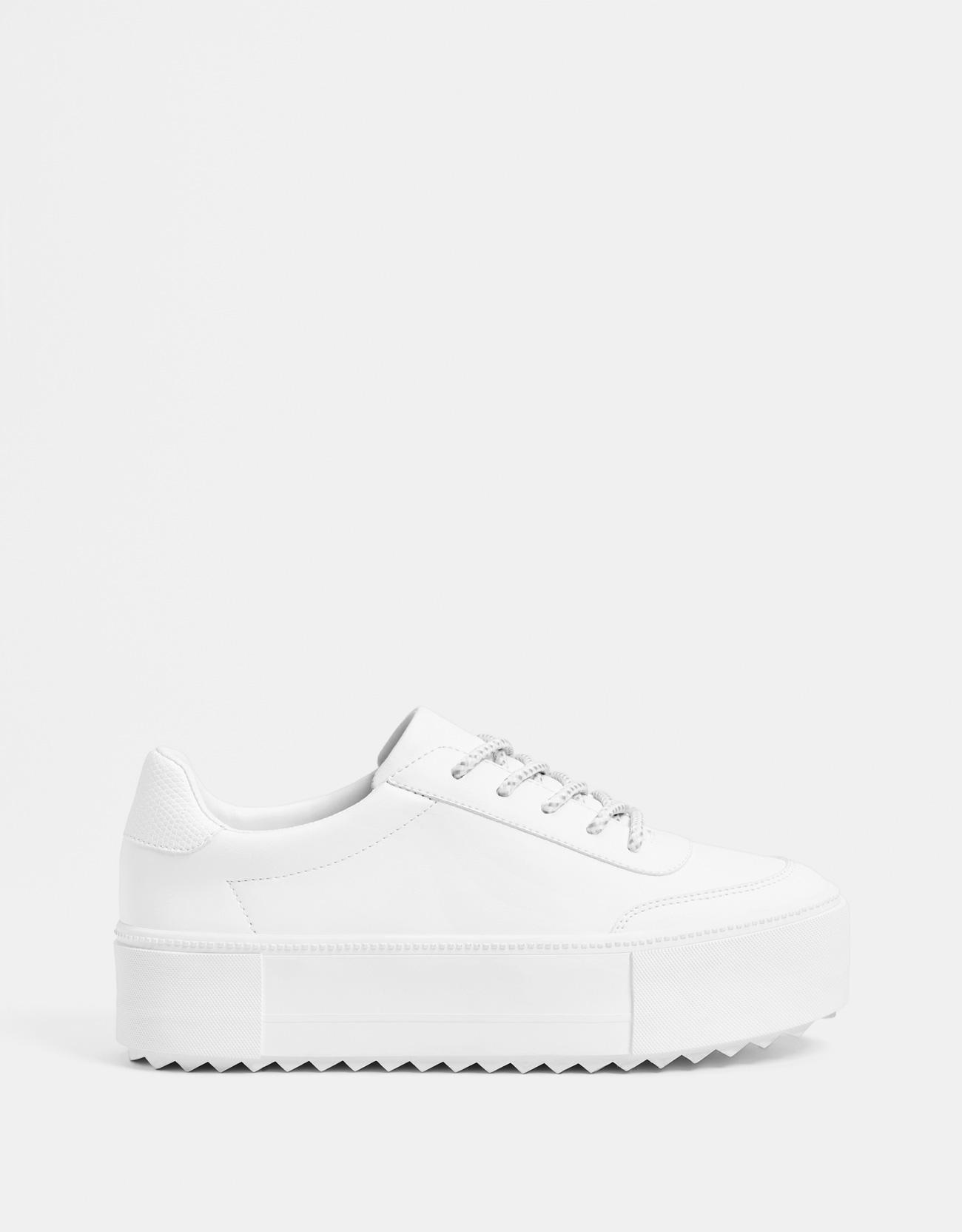 369e4a824365 White platform sneakers - Shoes - Bershka Bosnia and Herzegovina