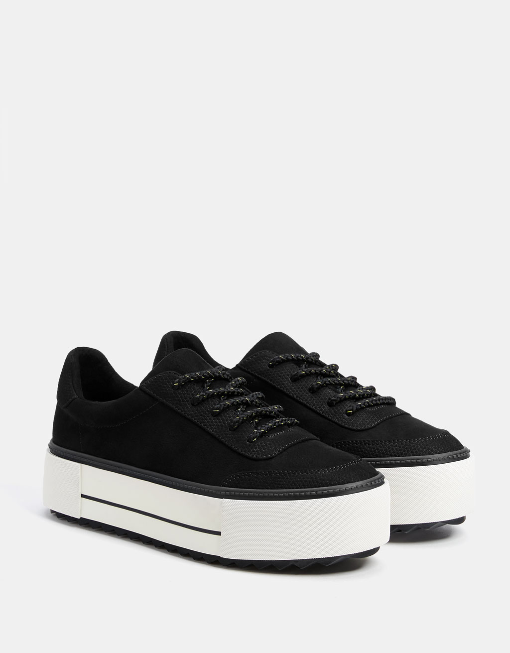 Black platform trainers