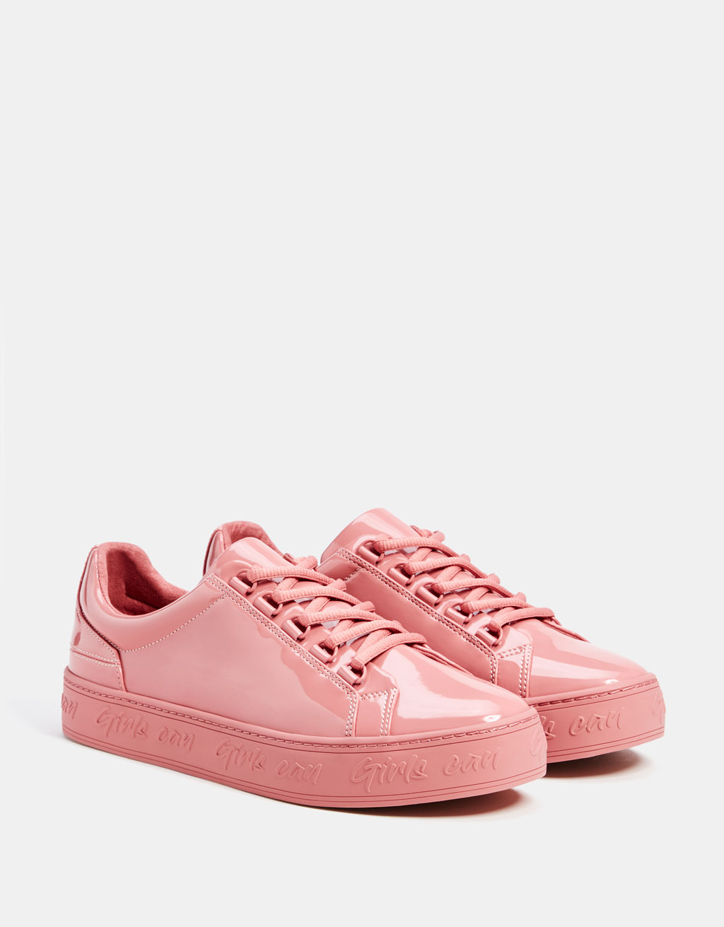 Pink faux patent leather trainers