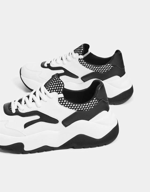 Kombinierte Plateau-Sneaker im Dadstyle