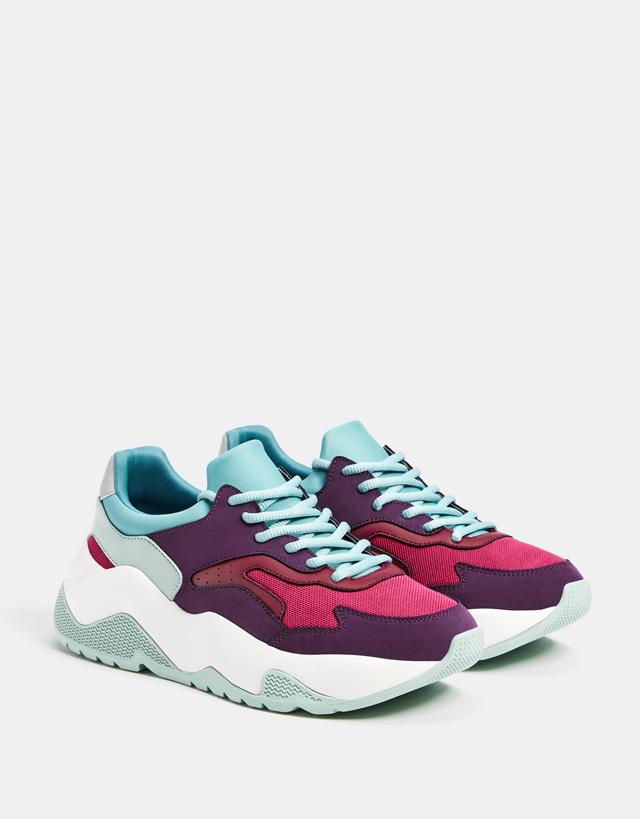 Kombinierte Plateau-Sneaker