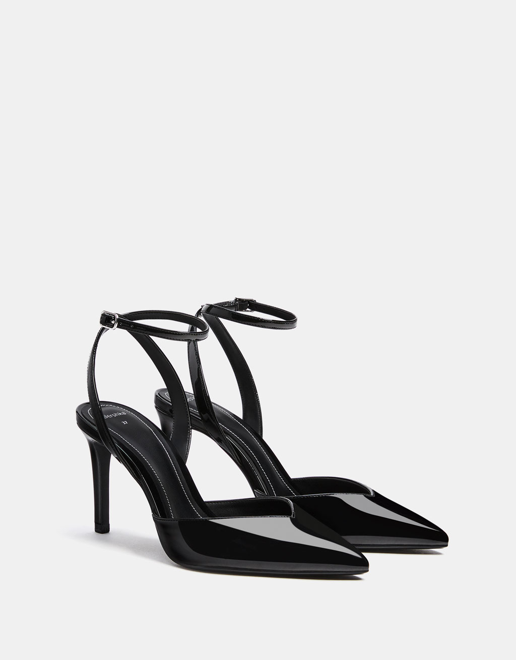 Faux patent leather slingback shoes