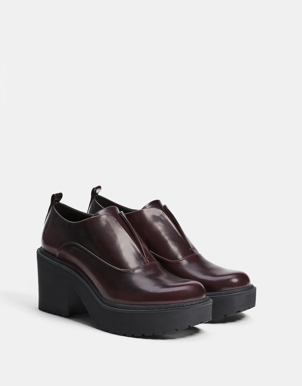 Maroon platform derby shoes